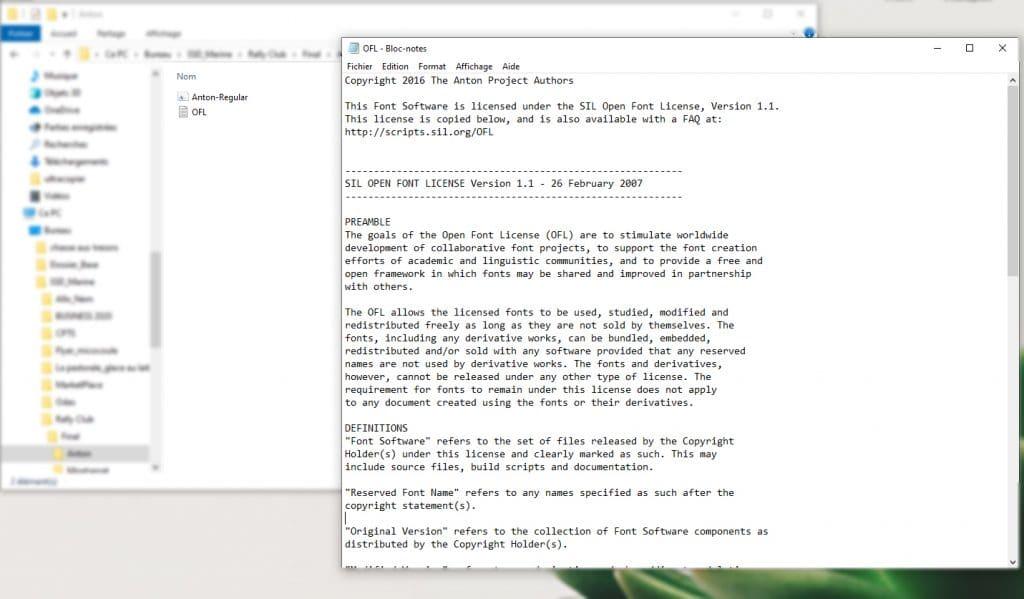 Exemple de fichier de licence fournis avec une police d'écriture fournis et accessible sur votre ordinateur.