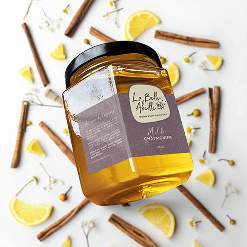 Création étiquette d'une miellerie à saint jean du Gard producteur de miel dans les Cévennes