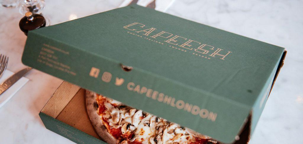 Capeesh identité graphique inspirante de ce restaurant boîte à pizza