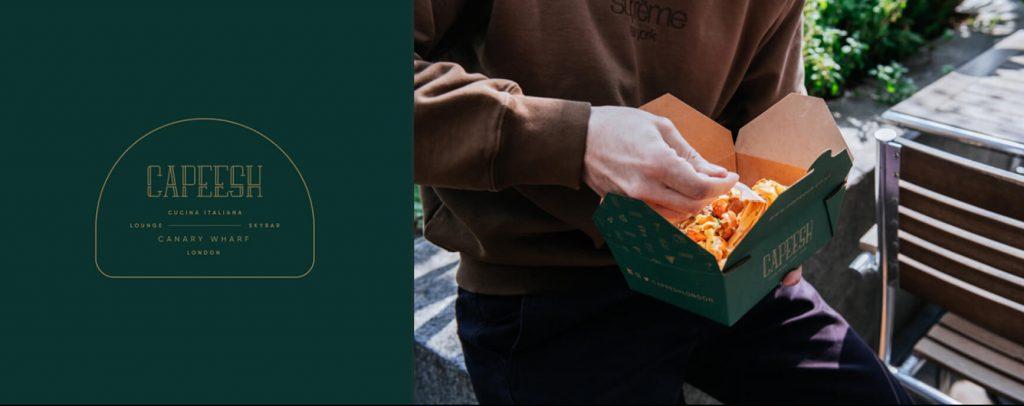 Capeesh identité graphique inspirante de ce restaurant support et emballages