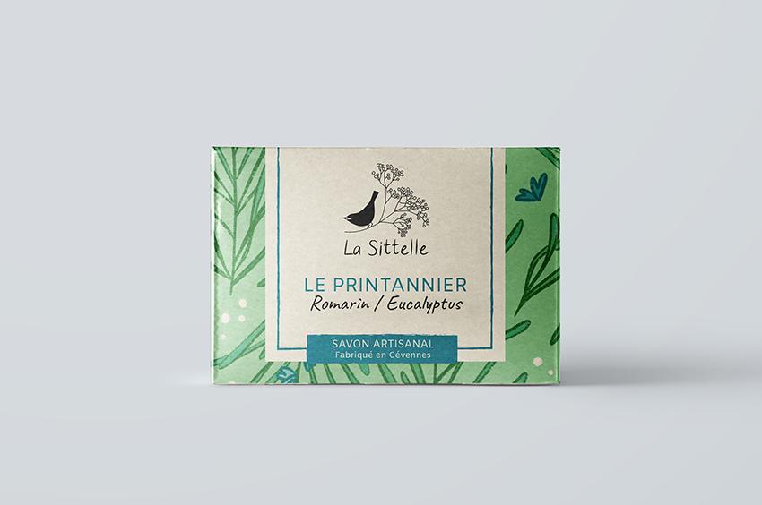la sittelle savonnerie artisanale dans les cévennes savon naturels produits artisanaux français logo packaging étiquette illustration